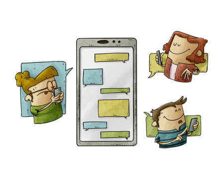 illustration of three people are around a large mobile phone and they are sending messages to each other. Communication and social media concept. isolated Stockfoto