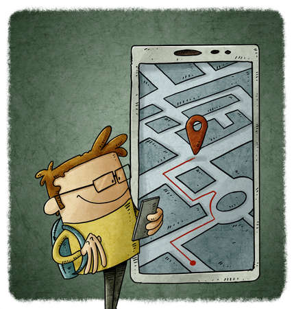 illustration of cartoon person is looking at his smartphone to know his location. Geolocation usage concept.