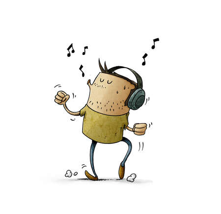 illustration of man with headphones on his head is listening to music while dancing and whistling. isolated