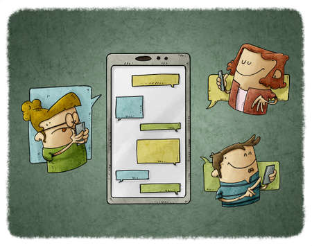 illustration of three people are around a large mobile phone and they are sending messages to each other. Communication and social media concept.