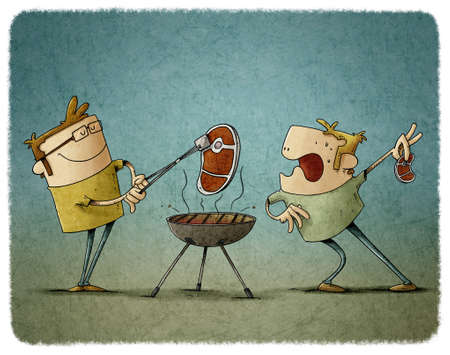 illustration of two men are grilling steaks on a barbecue, one of them stares in amazement at the other because his steak is bigger.