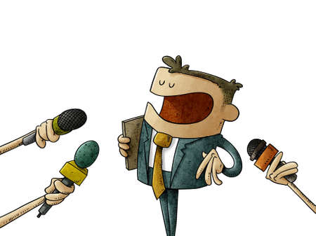 illustration of man in suit is answering the press who asks him with microphones in hand. concept of statements to journalists. isolated