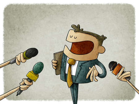 illustration of man in suit is answering the press who asks him with microphones in hand. concept of statements to journalists.