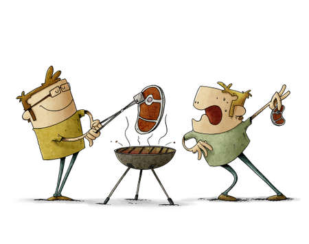 illustration of two men are grilling steaks on a barbecue, one of them stares in amazement at the other because his steak is bigger. isolated