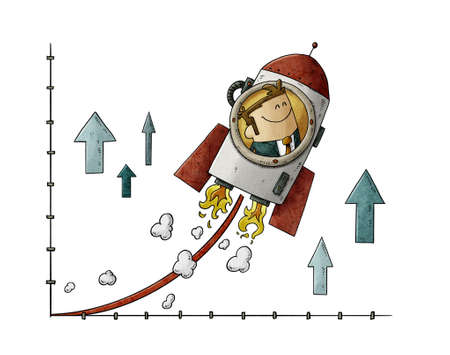 growth concept illustration showing a businessman inside a rocket going up on a graph. isolated