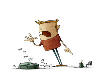illustration of angry man yells at his cleaning robot to go to its charging base. concept of problems with technology. isolated
