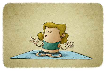 illustration of very relaxed woman is practicing yoga sitting on her mat