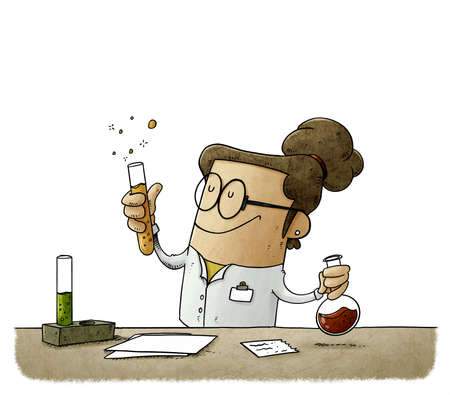 illustration of female scientist is mixing liquids in test tubes. Vaccine search concept. isolated Stockfoto