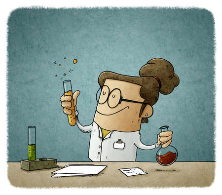 illustration of female scientist is mixing liquids in test tubes. Vaccine search concept.