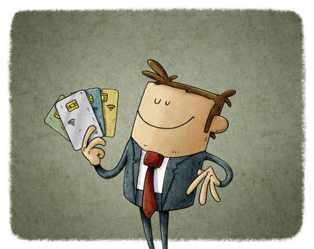 illustration of happy businessman holds some chip credit cards in his hand