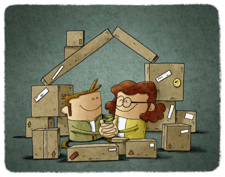 illustration of a couple in love are among some cardboard boxes that form the shape of a house. home buying concept Stockfoto