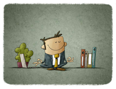 illustration of man in relaxation position in a work environment. mindfulness