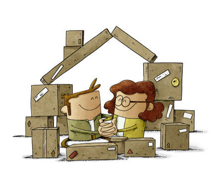 illustration of a couple in love are among some cardboard boxes that form the shape of a house. home buying concept. isolated Stockfoto