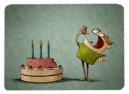 illustration of a little boy next to a birthday cake has turned off a piece and is eating it. Stockfoto