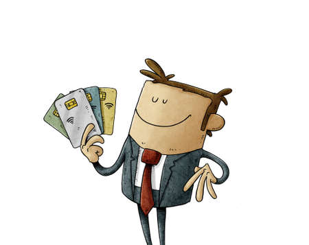 illustration of happy businessman holds some chip credit cards in his hand. isolated