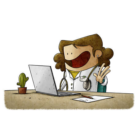 illustration of a doctor in front of a computer attends to her patients online. isolated