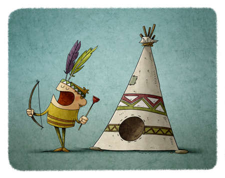 illustration of little boy with a bow and arrow dressed as an Indian is playing next to a teepee, typical house of the Indians.