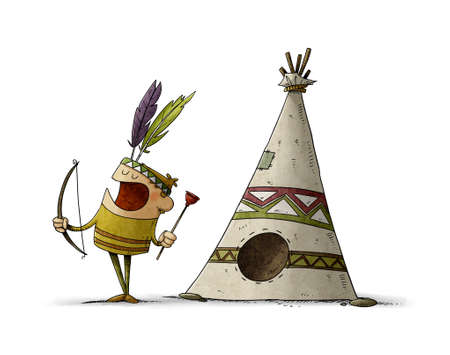 illustration of little boy with a bow and arrow dressed as an Indian is playing next to a teepee, typical house of the Indians. isolated Stockfoto