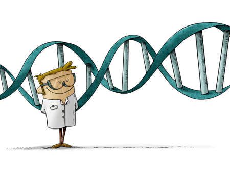 illustration of scientist in protective glasses is standing and behind him is a large DNA chain. isolated