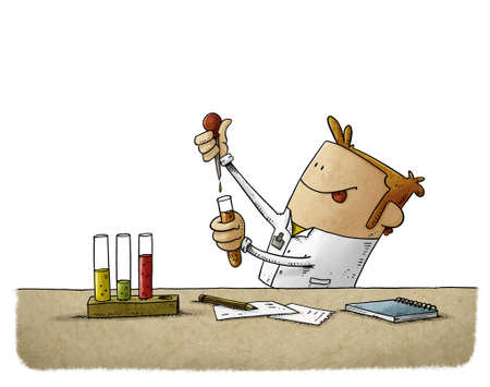 illustration of scientist is struggling to discover something while mixing liquids in test tubes. isolated Stockfoto