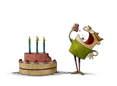 illustration of little boy next to a birthday cake has turned off a piece and is eating it. isolated