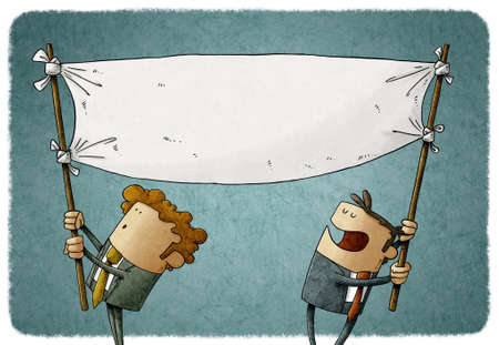 illustration of two men hold a blank banner while moving it. claim concept Stockfoto