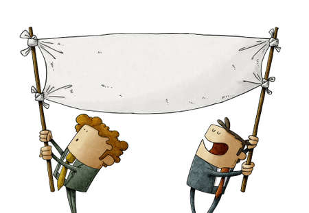 illustration of two men hold a blank banner while moving it. claim concept. isolated
