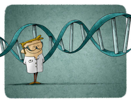 illustration of scientist in protective glasses is standing and behind him is a large DNA chain Stockfoto