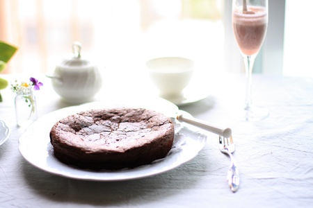 high tea: chocolate cake and tea for high tea image
