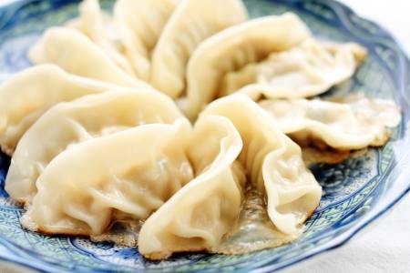 gyoza: Japanese cuisine, fried gyoza Stock Photo
