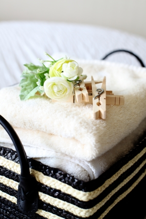 keeping room: towel and laundry clips Stock Photo