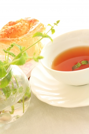 english mint tea with bread for high tea image photo