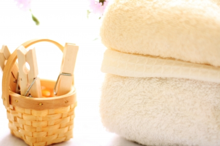 laundry clips and towel for house keeping image photo