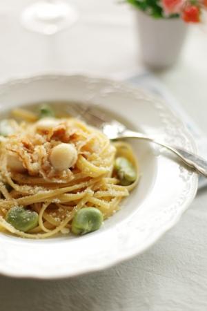 İtalyan mutfağı: İtalyan mutfağı, tarak ve soramae linguine Stok Fotoğraf