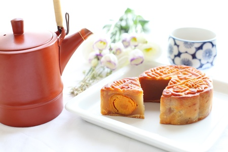chinese confectionery, moon cake for mid autumn festival image photo