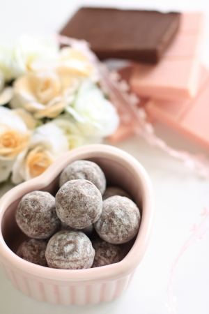 chocolate ball in heart shaped bowl for valentine s day image photo