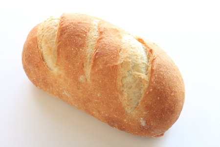 brea: french bread on white background