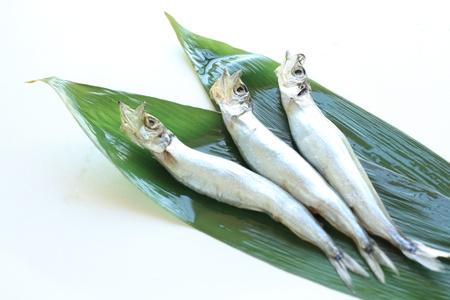 smelt: Japanese cuisine,  raw shishamo smelt on leaf