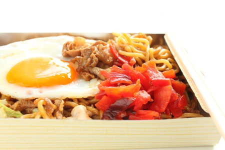 Japanese cuisine, fried noodles with sunny side up Stock Photo - 17992647