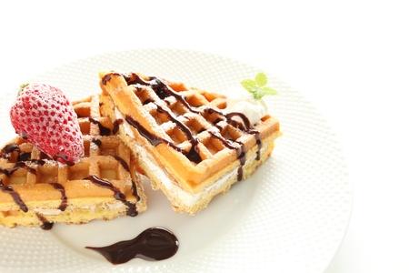 gourmet desset, american waffle and frozen raspberry 版權商用圖片