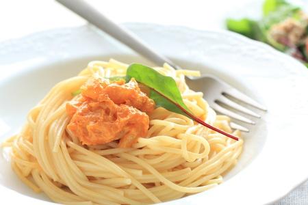 İtalyan mutfağı: Italian cuisine, sea urchin spaghetti Stok Fotoğraf