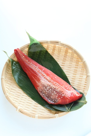 seasoned: red fish seasoned on japanese tradional bamboo basket