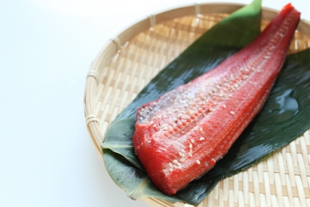 tradional: red fish seasoned on japanese tradional bamboo basket