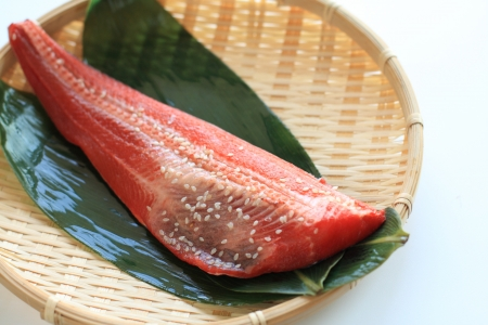 red fish: japanese cuisine, seasoned red fish on bamboo basket Stock Photo