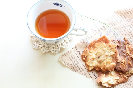 Almond cookie with English tea photo