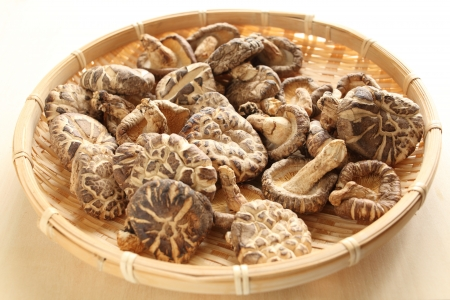 chinese food, dried mushroom on bamboo basket