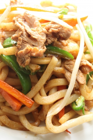close up of chinese cuisine, fried shanghai noodles Stock Photo