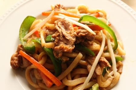 close up of chinese cuisine, fried shanghai noodles photo