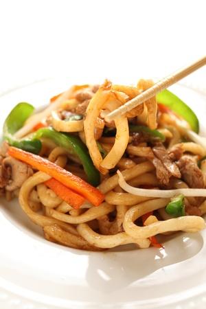 중국 요리, 상하이 튀김 국수 스톡 콘텐츠