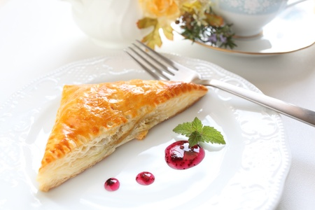 meat pie: home bakery meat pie on dish with berry sauce Stock Photo